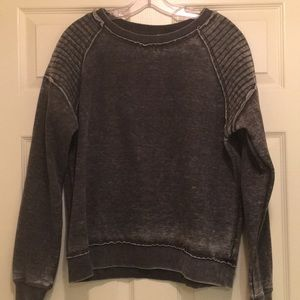NWOT Distressed Grey Fleece Pullover- Large